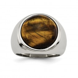 Stainless Steel Polished Tiger's Eye Ring