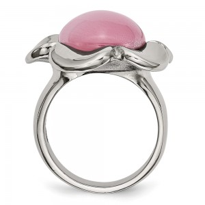 Stainless Steel Polished Pink Cat's Eye Flower Ring