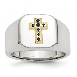 Stainless Steel Polished w/14k Accent 1/15ct Sapphire Cross Signet Ring