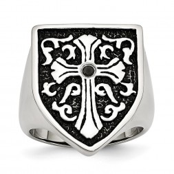Stainless Steel Antiqued & Polished 1/20ct Black Diamond Shield Ring