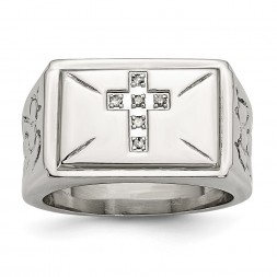 Stainless Steel Polished/Textured 1/15ct Diamond Cross 13.25mm Band