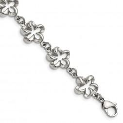Stainless Steel Polished Flower Link 7.5in Bracelet