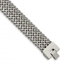 Stainless Steel Polished Woven 7.5in Bracelet