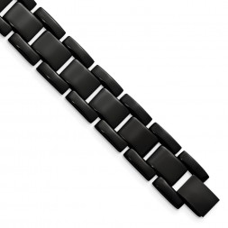 Stainless Steel Polished Black IP-plated 8.25in Bracelet