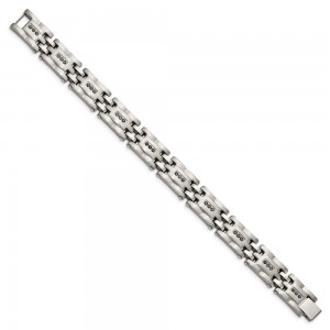 Stainless Steel Brushed and Polished 3/4ct tw. Diamond 8.5in Bracelet