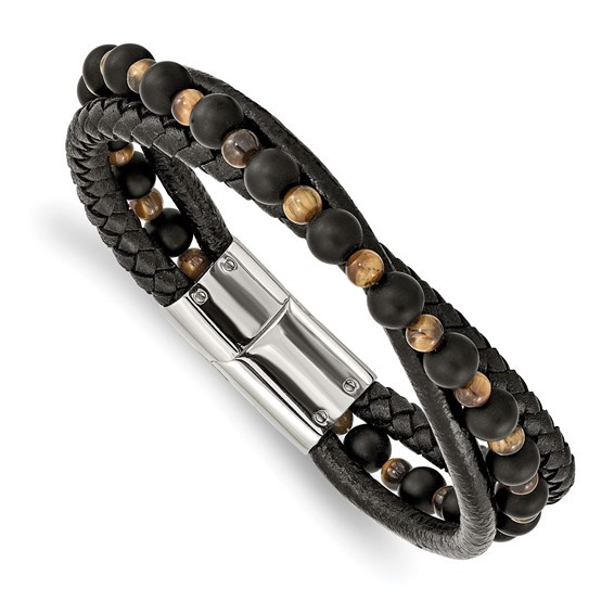 Stainless Steel Polished with Tiger's Eye/Black Agate Leather 8.25in Bracelet