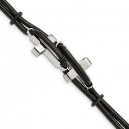 Stainless Steel Polished Crosses Black Leather 8.25in Bracelet