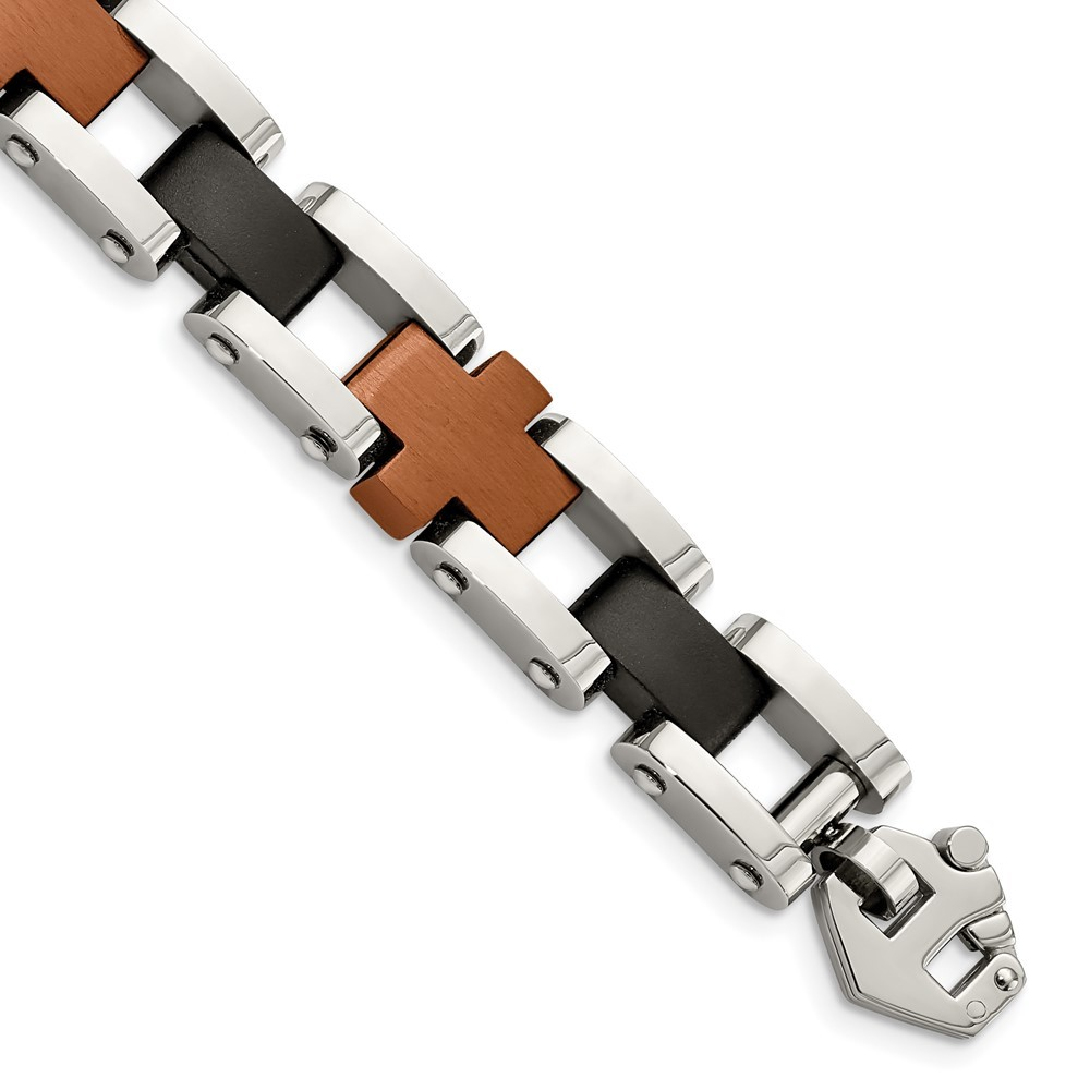 Stainless Steel Brushed & Polished Brown & Black IP-plated 8.75in Bracelet