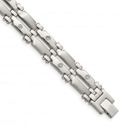 Stainless Steel Brushed & Polished w/14k White Gold & Diamonds Bracelet