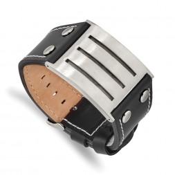 Stainless Steel Brushed Black Leather Adjustable Buckle 8.75in Bracelet