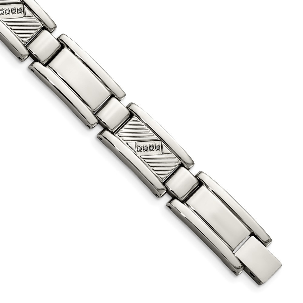 Stainless Steel Polished and Textured w/Diamonds 8.5in Bracelet