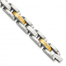 Stainless Steel w/14k Accent 8.25in Brushed & Polished w/Diamonds Bracelet