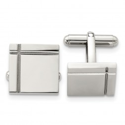 Stainless Steel Polished Square Cufflinks