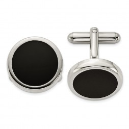 Stainless Steel Polished Black IP-plated Circle Cufflinks