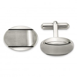 Stainless Steel Brushed Polished and Enameled Oval Cufflinks