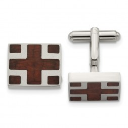 Stainless Steel Polished w/Cherry Wood Inlay Cross Design Square Cufflinks