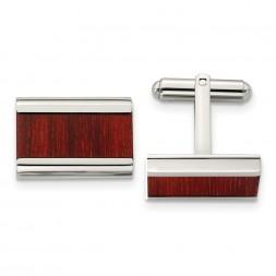Stainless Steel Polished Red/Orange Koa Wood Inlay Rectangle Cufflinks