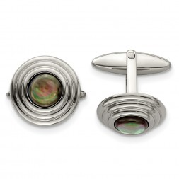 Stainless Steel Polished Black Mother of Pearl Circle Cufflinks