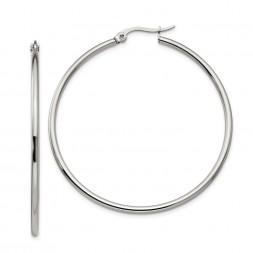 Stainless Steel Polished 48mm Diameter Hoop Earrings