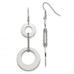 Stainless Steel Polished Circles Dangle Shepherd Hook Earrings