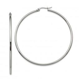 Stainless Steel Polished 60mm Diameter Hoop Earrings