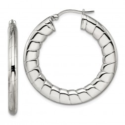 Stainless Steel Polished and Textured Hollow Hoop Earrings