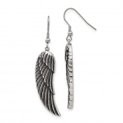 Stainless Steel Antiqued and Polished Wing Dangle Shepherd Hook Earrings