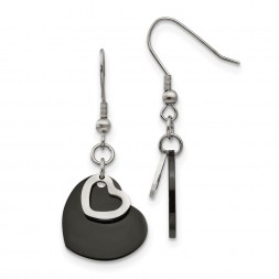 Stainless Steel Polished Black IP-plated Heart Dangle Earrings