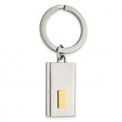 Stainless Steel Polished Yellow IP-plated Key Ring