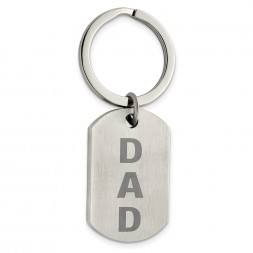 Stainless Steel Brushed Lasered Dad Key Ring