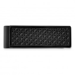 Stainless Steel Polished Black IP-plated w/ Leather Inlay Money Clip