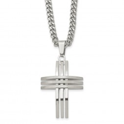 Stainless Steel Brushed and Polished Cross 24in Necklace