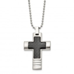 Stainless Steel Brushed & Polished w/Carbon Fiber Inlay Cross Necklace