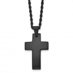 Stainless Steel Brushed Black IP-plated Cross 20in Necklace