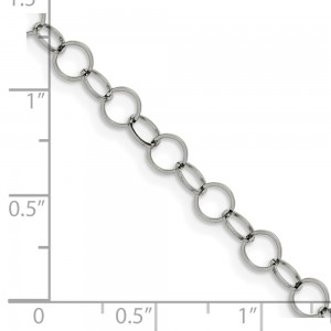 Stainless Steel Polished 6mm Circle Link 24in Necklace