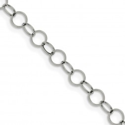 Stainless Steel Polished 6mm Circle Link 36in Necklace