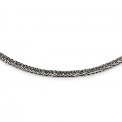 Stainless Steel Polished and Antiqued 3.75mm 22in Franco Chain