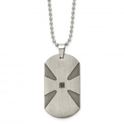 Stainless Steel Brushed .03ct Black Diamond Cross Dog Tag 24in Necklace
