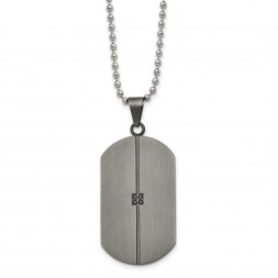 Stainless Steel Matte/Antiqued .04ct.tw Diamond Dog Tag 22in Necklace