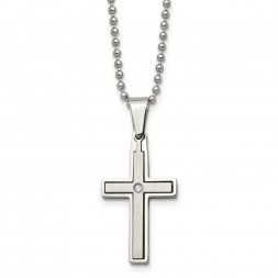 Stainless Steel Brushed & Polished w/.03ct Diamond Cross 22 inch Necklace