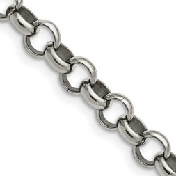 Stainless Steel Polished 8mm 18in Rolo Chain