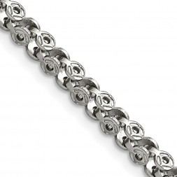 Stainless Steel Polished Fancy Circle Link 18in Chain