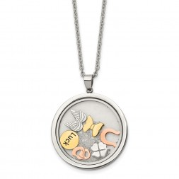 Stainless Steel Rose & Yellow IP w/Crystal Luck Charms w/2in ext Necklace