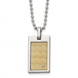 Stainless Steel Brushed & Polished w/18k Gold Accent .01ct. Dia Necklace