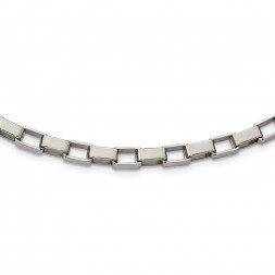 Stainless Steel Polished Square Link 22in Necklace