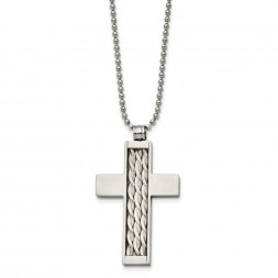 Stainless Steel Brushed w/Sterling Silver Inlay Cross 24in Necklace