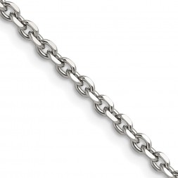 Stainless Steel Polished 3.4mm 18in Cable Chain