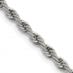 Stainless Steel Polished 4mm 18 inch Rope Chain