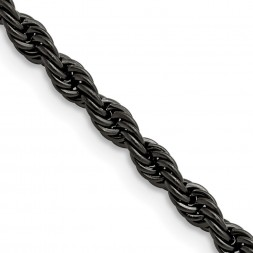 Stainless Steel Polished Black IP-plated 4mm 22 inch Rope Chain