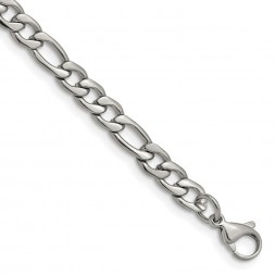 Stainless Steel Polished 6.3mm 8in Figaro Chain